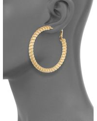 Saks Fifth Avenue - Metallic Mesh Hoop Earrings/goldtone - Lyst
