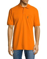 Façonnable - Orange Solid Cotton Polo for Men - Lyst