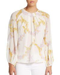 Giambattista Valli - Purple Long-sleeve Floral-print Silk Shirt - Lyst