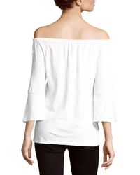Workshop - White Solid Off-the-shoulder Top - Lyst