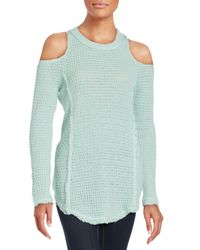 Saks Fifth Avenue   Green Cold Shoulder Sweater   Lyst
