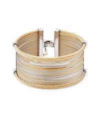 Alor - Metallic Classique Wide Steel & 18k Gold Cuff Bracelet - Lyst