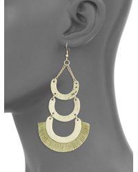 Jardin - Metallic Frayed Trim Layered Dangle & Drop Earrings - Lyst