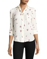 L'Agence - White Ryan Silk Blouse - Lyst