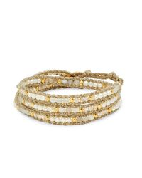 Chan Luu - Metallic Goldtone Beaded Leather Bracelet - Lyst