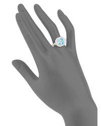 Judith Ripka - Metallic Legacy Sky Blue Crystal, White Sapphire & Sterling Silver Ring - Lyst