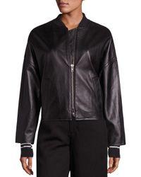Vince - Black Leather Drop Shoulder Bomber Jacket - Lyst