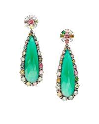 Bavna | .39tcw Diamonds, Green Onyx, And Tourmaline Sterling Silver Earrings | Lyst