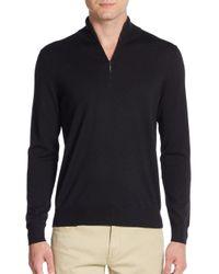 Saks Fifth Avenue   Black Quarter-zip Merino Wool Sweater for Men   Lyst