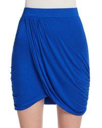The Vanity Room - Blue Draped Knit Mini Skirt - Lyst