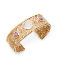 Stephen Dweck - Metallic Rose Quartz, Phosphosiderite & Bronze Carved Cuff Bracelet - Lyst