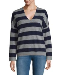 Vince - Gray Striped Cashmere Pullover - Lyst
