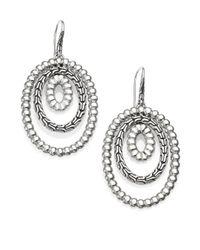 John Hardy - Metallic Bedeg Sterling Silver Textured Oval Orbital Drop Earrings - Lyst
