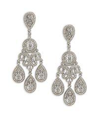 Adriana Orsini - Metallic Crystal Large Teardrop Chandelier Earrings - Lyst
