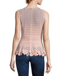 Rebecca Taylor | Multicolor Sleeveless Lace Peplum Top | Lyst