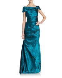 Teri Jon | Blue Taffeta Off-shoulder Gown | Lyst