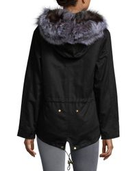 AVA & KRIS - Black Cotton Dani Dyed Fox Fur Parka - Lyst