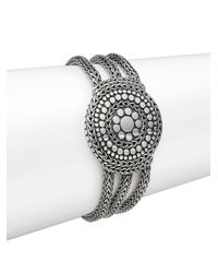 John Hardy - Metallic Dot Sterling Silver Medallion Three-row Chain Bracelet - Lyst