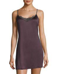 Hanro   Purple Lace-trimmed Solid Sleeveless Sleepdress   Lyst