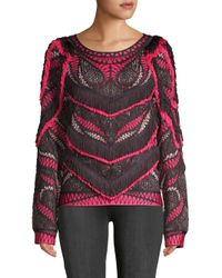 Hervé Léger - Pink Everly Frayed Sweater - Lyst