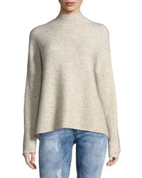 French Connection - White Textured Mockneck Sweater - Lyst
