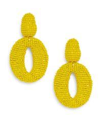 Oscar de la Renta - Yellow Oscar Beaded Oval Drop Clip Earrings - Lyst