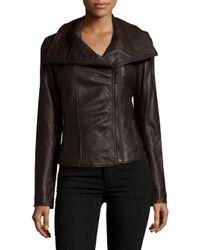 MICHAEL Michael Kors - Brown Leather Zipped Jacket - Lyst