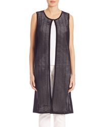 Lafayette 148 New York - Black Opulent Shadow-striped Vest - Lyst