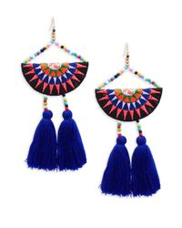 Panacea - Blue Tassel Beaded Drop Earrings - Lyst