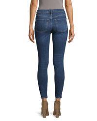 Free People - Blue High-waist Distressed-knee Skinny Jeans - Lyst