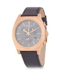 Nixon - Gray Time Teller Stainless Steel And Leather-strap Watch - Lyst
