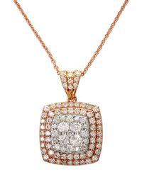 Effy - Metallic Diamond And 14k White And Rose Gold Pendant Necklace, 0.88 Tcw - Lyst
