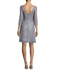 Kay Unger - Gray Floral Lace Cocktail Dress - Lyst