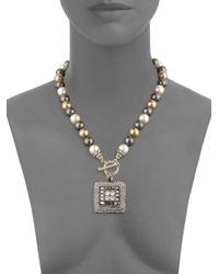 Heidi Daus - Metallic Square Toggle Faux Pearl And Crystal Pendant Necklace - Lyst