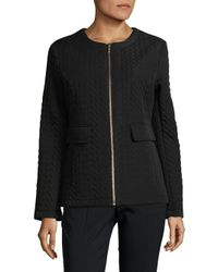 Karl Lagerfeld - Black Collarless Quilted Jacket - Lyst