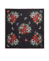 Valentino - Black Floral & Butterfly Silk Foulard - Lyst