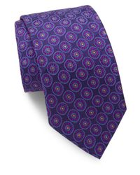 Ike Behar - Purple Floral Medallion Silk Tie for Men - Lyst