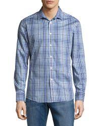 Vince Camuto - Blue Tartan Cotton Top for Men - Lyst