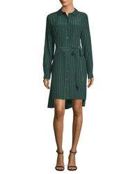 Diane von Furstenberg - Green Prita Printed Shirtdress - Lyst