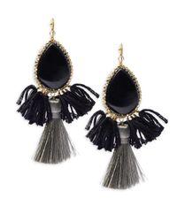 Panacea - Black Fringe Drop Earrings - Lyst