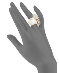 Ippolita | Metallic Rock Candy Clear Quartz, Mother-of-pearl, Moonstone & 18k Yellow Gold Doublet Cluster Ring | Lyst