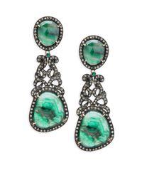 Bavna - Green Champagne Diamond, Emerald & Sterling Silver Pave Earrings - Lyst