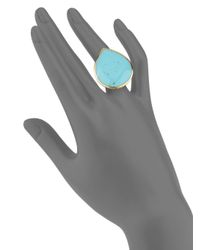 Ippolita - Blue Polished Rock Candy Turquoise & 18k Yellow Gold Teardrop Ring - Lyst