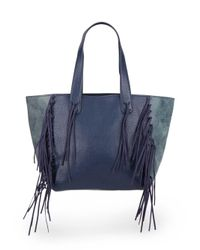 Urban Originals - Blue Piper Fringe Faux Leather Tote Bag - Lyst