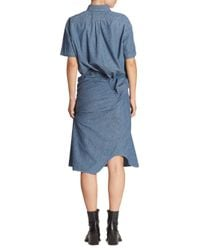 Junya Watanabe - Blue Twisted Button Front Shirtdress - Lyst