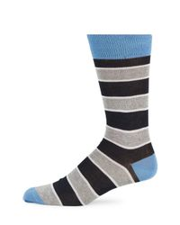 Saks Fifth Avenue - Blue Mercerized Thick Striped Socks for Men - Lyst