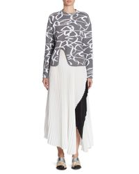 Proenza Schouler - White Pleated Colorblock Skirt - Lyst