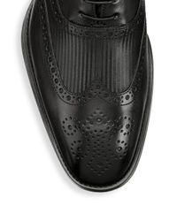 Giorgio Armani Black Leather Wingtip Brogues for men