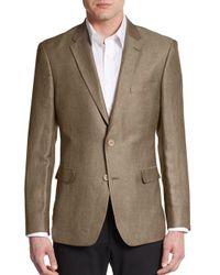 Tommy Hilfiger | Brown Regular-fit Herringbone Linen-blend Sportcoat for Men | Lyst