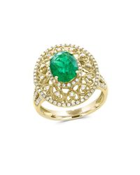 Effy - Metallic Brasilica 14k Yellow Gold, Diamond And Natural Emerald Ring - Lyst